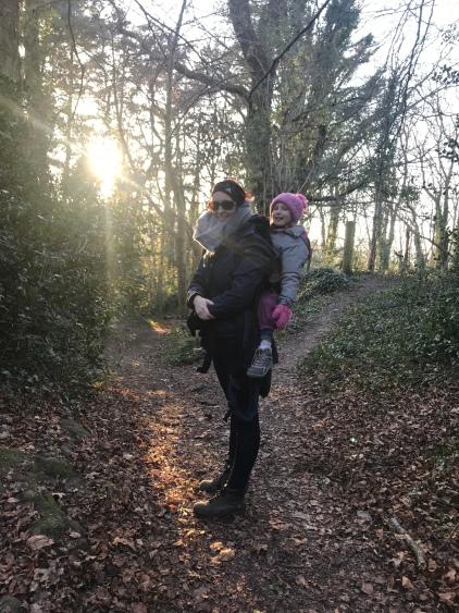 toddler hike friendly mile walk usk castle river south wales newport tunnel carrier pre-schooler